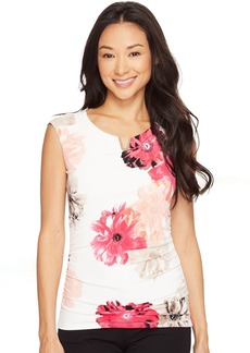 Calvin Klein Printed Extended Shoulder Top with Hardware