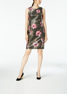 Calvin Klein Floral-Printed Faux-Leather Sheath Dress