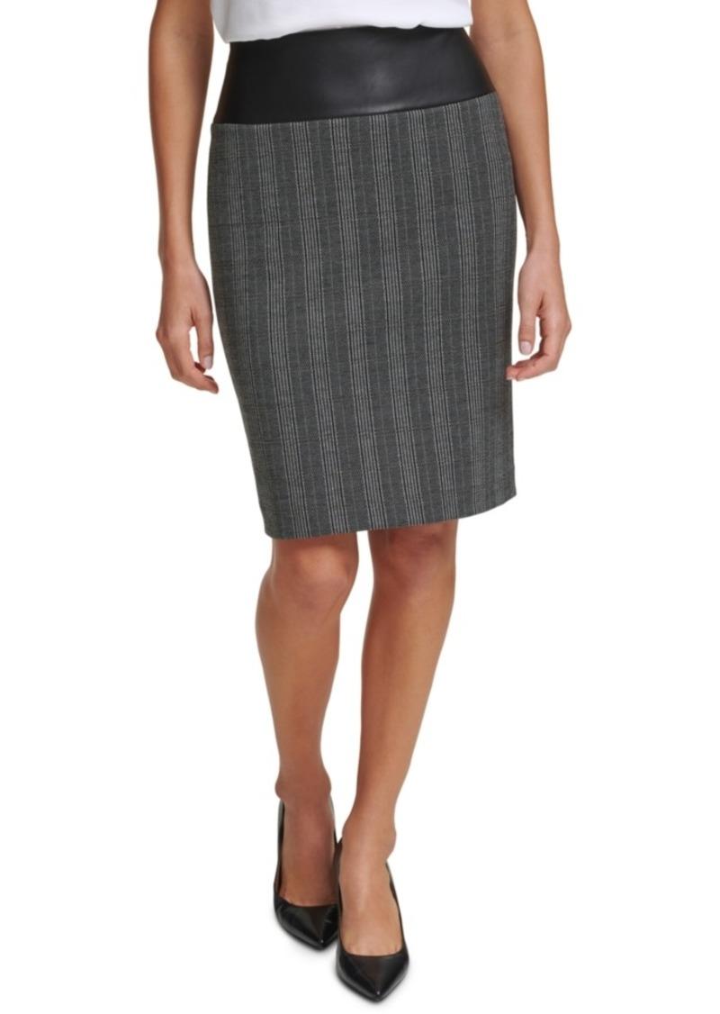 Calvin Klein Printed Faux-Leather-Trim Pencil Skirt