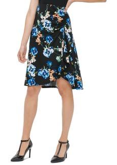 Calvin Klein Printed Faux-Wrap Skirt