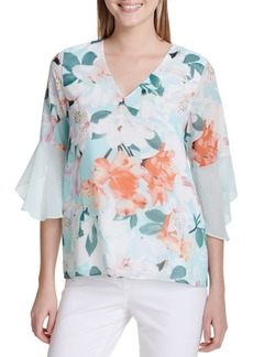 Calvin Klein Printed Flare Sleeve Blouse