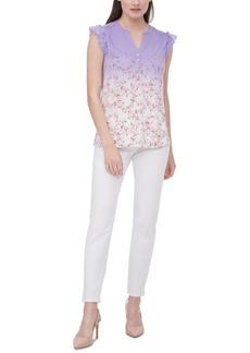 Calvin Klein Printed Flutter-Sleeve Top
