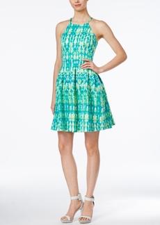 Calvin Klein Printed Halter Fit & Flare Dress