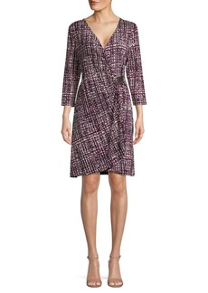Calvin Klein Printed Hardware Cinch Faux Wrap Dress