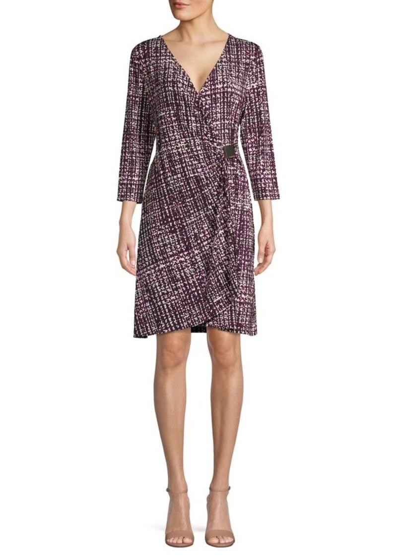 Calvin Klein Printed Hardware Cinch Faux Wrap Dress