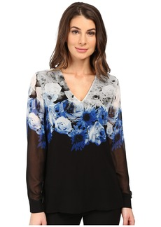 Calvin Klein Printed High-Low V-Neck Top