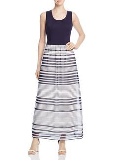Calvin Klein Printed Layered-Look Maxi Dress