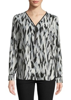 Calvin Klein Printed Long-Sleeve Blouse