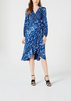 Calvin Klein Printed Long-Sleeve Midi Dress