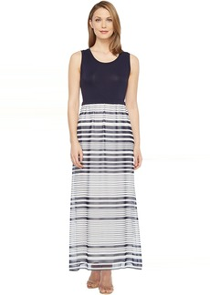 Calvin Klein Printed Maxi with Chiffon Bottom