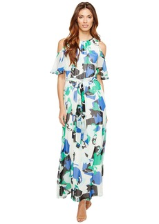 Calvin Klein Printed Maxi with Flutter Sleeve