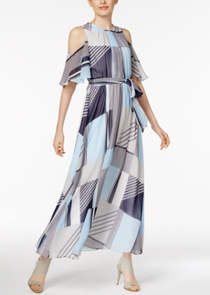 Calvin Klein Printed Off-The-Shoulder Maxi Dress