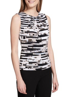 Calvin Klein Printed Pleat Neck Blouse