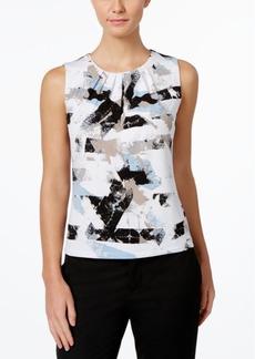 Calvin Klein Printed Pleat-Neck Shell