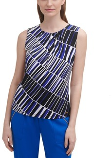 Calvin Klein Printed Pleat-Neck Top