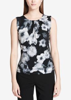 Calvin Klein Printed Pleated-Neck Shell, Regular & Petite