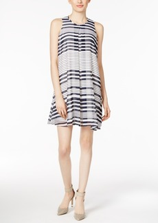 Calvin Klein Printed Pleated Shift Dress