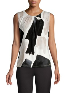 Calvin Klein Printed Pleated Sleeveless Top