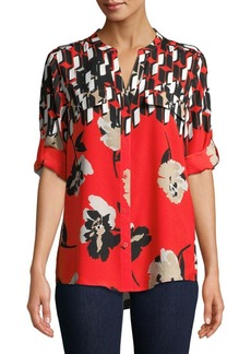 Calvin Klein Printed Roll-Sleeve Blouse