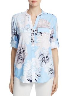 Calvin Klein Printed Roll-Sleeve Top