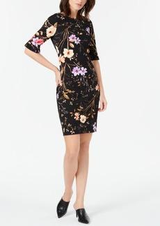 Calvin Klein Printed Ruffled-Sleeve Sheath Dress