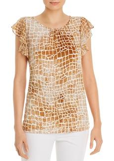 Calvin Klein Printed Ruffled-Sleeve Top