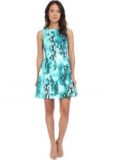 Calvin Klein Printed Scuba Fit & Flare Dress CD5M6R8Y