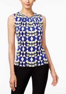 Calvin Klein Printed Sleeveless Pleat-Neck Top
