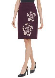 Calvin Klein Printed Sweater Pencil Skirt