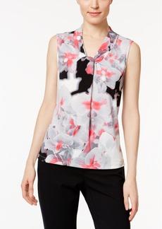 Calvin Klein Printed Tie-Neck Blouse