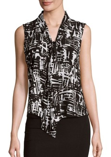 Calvin Klein Printed Tie Neck Top