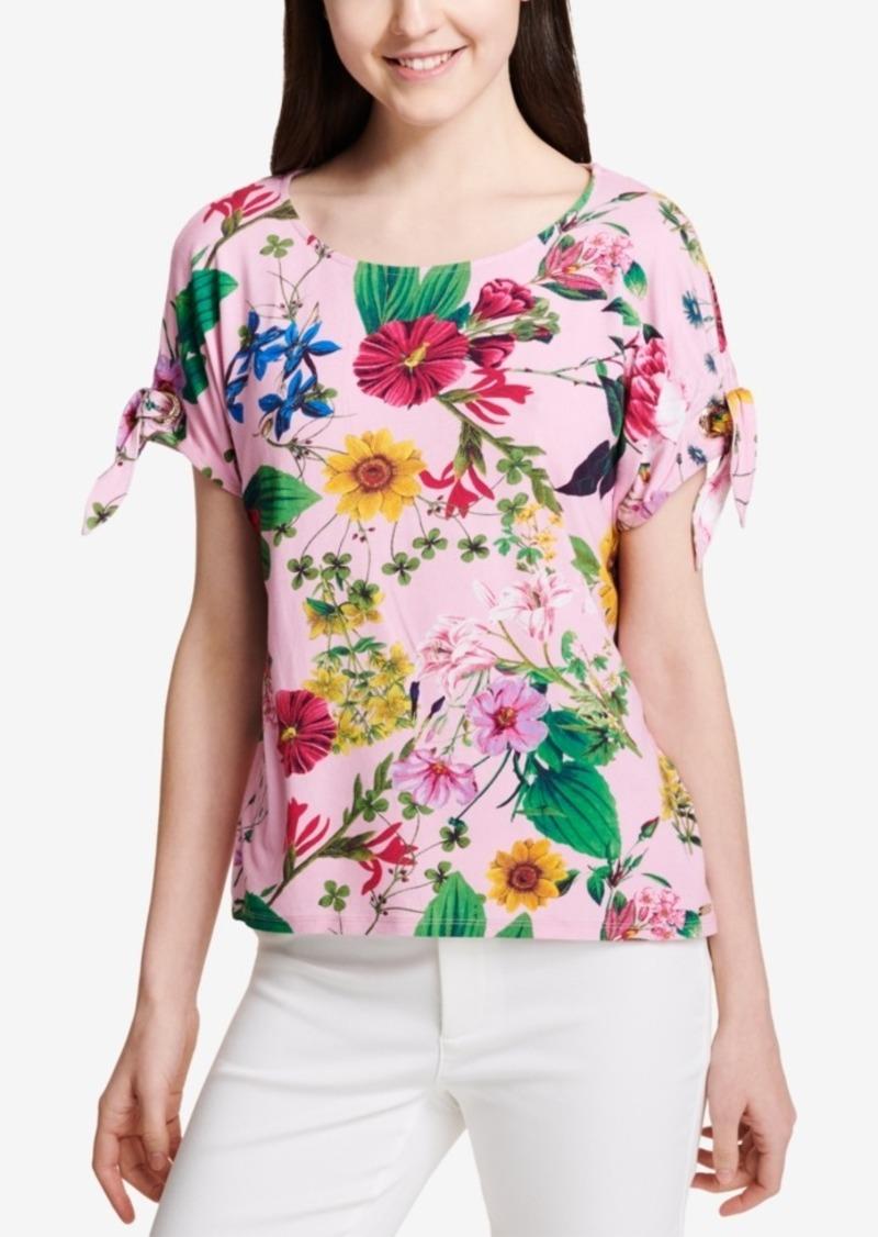 Calvin Klein Printed Tie-Sleeve Blouse