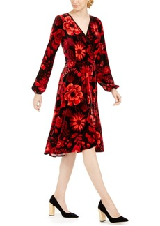 Calvin Klein Printed Velvet Surplice Dress