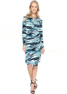Calvin Klein Printed Wrap Dress w/ Hardware