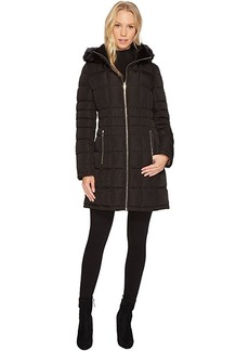 Calvin Klein Puffer Mid-Length with Knit Side Detachable Fur Trimmed Hood