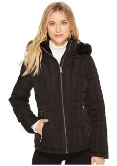 Calvin Klein Puffer Short with Detachable Fur Trimmed Hood