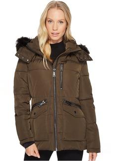 Calvin Klein Puffer Short with Fur Trimmed Hood