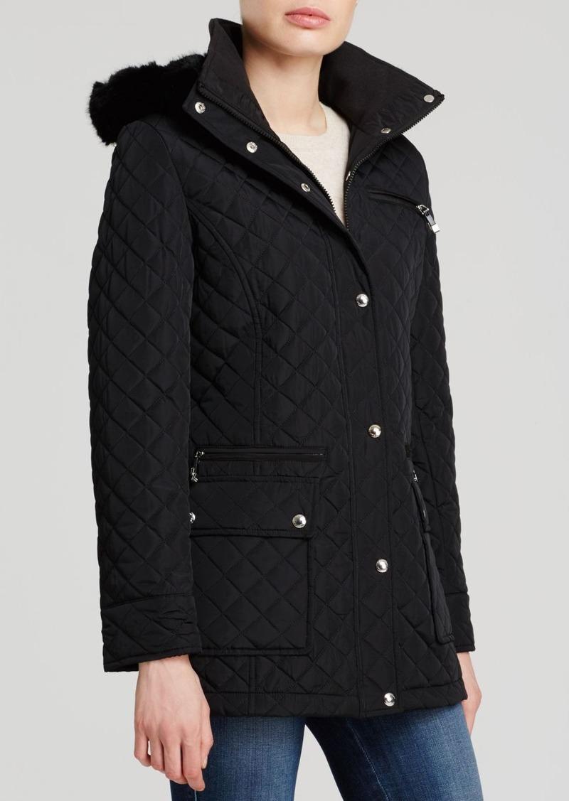 Calvin Klein Quilted Faux-Fur Trim Coat