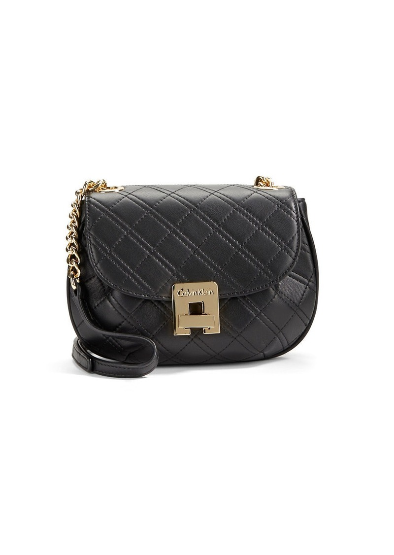 Calvin Klein Quilted Leather Saddle Bag