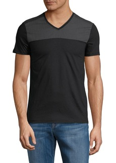 Calvin Klein Refined Woven Chest Cotton V-Neck Tee
