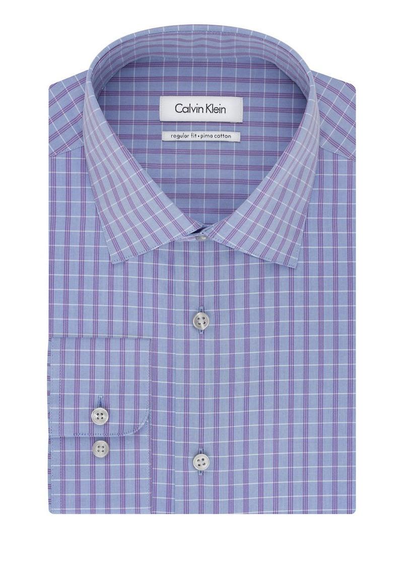 Calvin klein calvin klein regular fit pima plaid check for Regular fit dress shirt