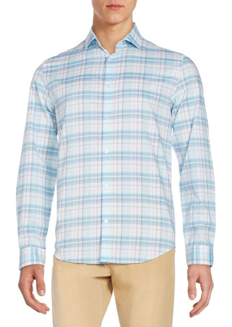 Calvin Klein Regular-Fit Plaid Cotton Sportshirt