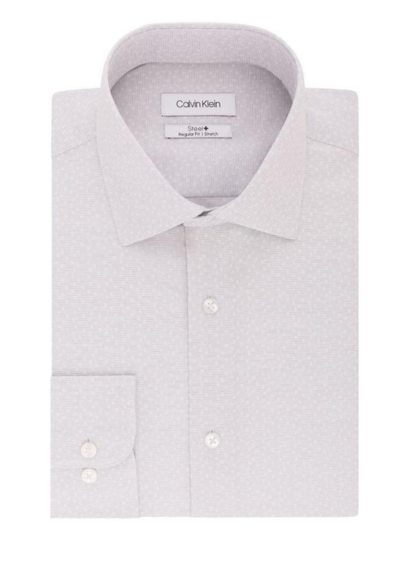 Calvin Klein Regular-Fit Textured Dobby Stretch-Cotton Dress Shirt