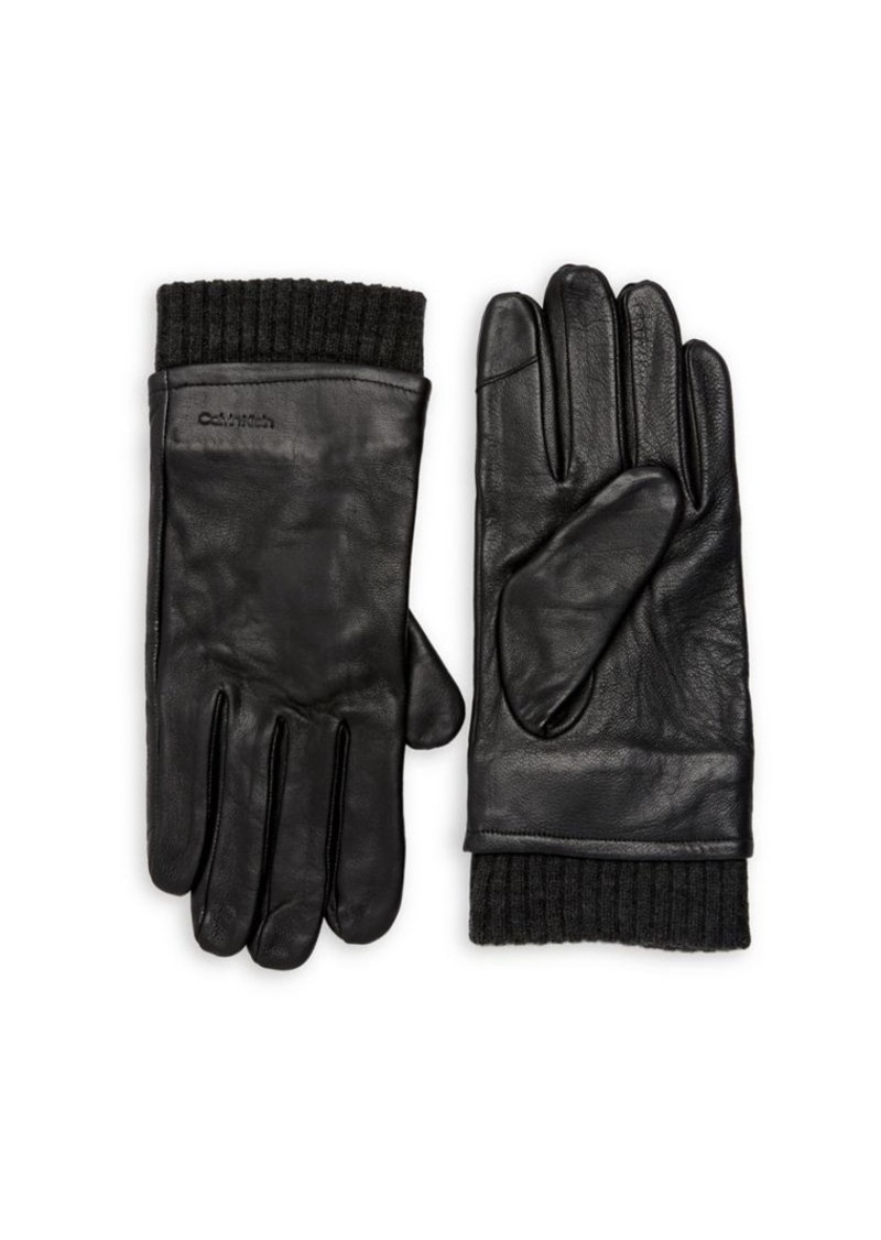 Calvin Klein Men's Rib-Trimmed Gloves