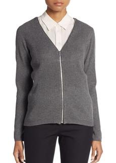 Calvin Klein Ribbed Knit Zip Cardigan