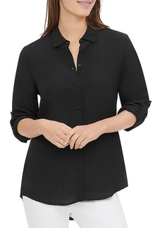 Calvin Klein Roll-Sleeve High/Low Shirt