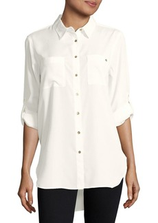Calvin Klein Roll-Sleeve Tunic Blouse