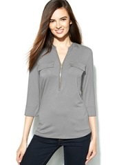 Calvin Klein Roll-Tab-Sleeve Zip-Front Top