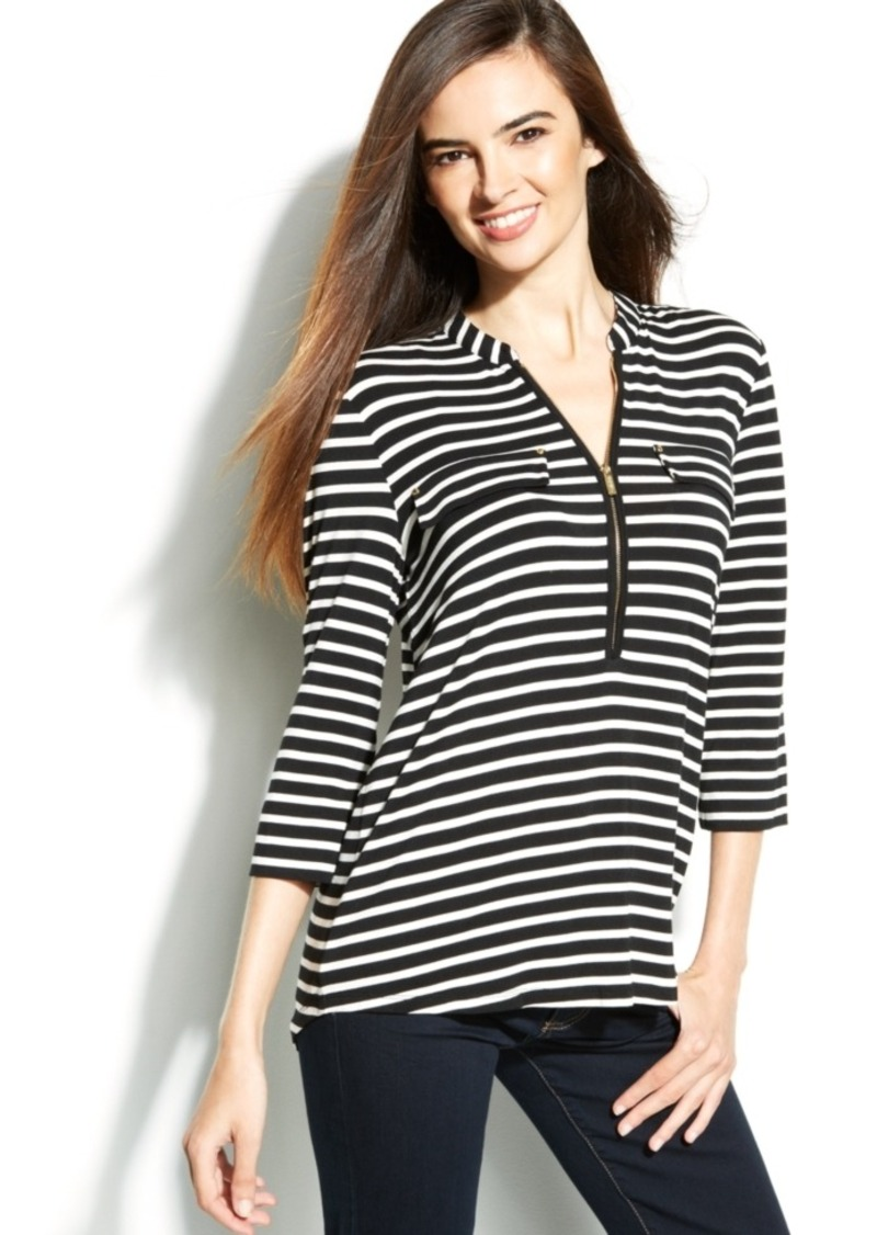 Calvin Klein Roll-Tab Striped Zip-Front Top