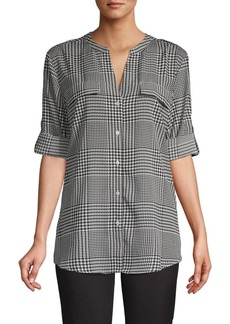 Calvin Klein Rolled-Sleeve Button-Front Plaid Blouse